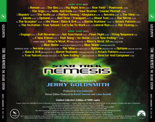 Soundtrack Star Trek: Nemesis - The Deluxe Edition - zadní s